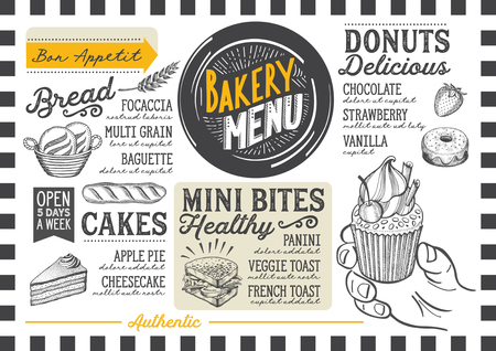 Bakery dessert menu for restaurant and cafe. Design template with food hand-drawn graphic illustrations. 矢量图像