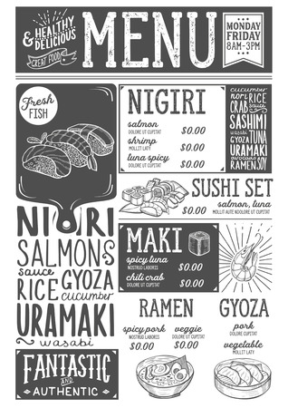 Sushi menu for restaurant and cafe. Design template with food hand-drawn graphic illustrations. Иллюстрация