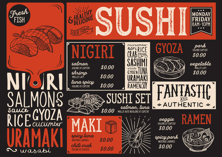 Sushi menu for restaurant and cafe. Design template with food hand-drawn graphic illustrations. Stock Vector - 89113578