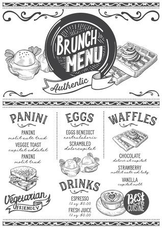 Brunch-foodmenu voor restaurant en café. Ontwerpsjabloon met handgetekende grafische illustraties.