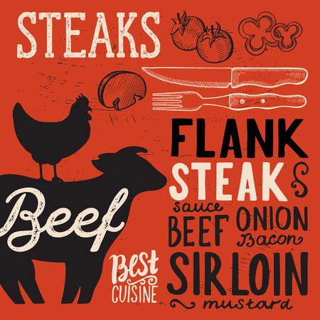 Steak menu poster for restaurant and cafe. Design template with food hand-drawn graphic illustrations. Ilustração Vetorial