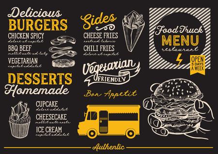 거리 축제에 대 한 음식 트럭 메뉴입니다. 손으로 그린 그래픽 삽화로 디자인 템플릿. 일러스트