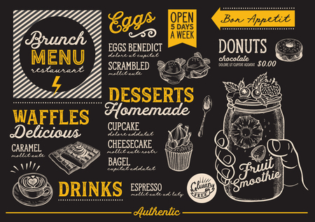 Brunch food menu for restaurant and cafe. Design template with hand-drawn graphic illustrations.