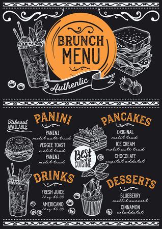 Brunch restaurant menu. Vector food flyer for bar and cafe. Design template with vintage hand-drawn illustrations. Vettoriali