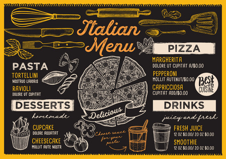 Pizza restaurant menu. Vector food flyer for bar and cafe. Design template with vintage hand-drawn illustrations. Vettoriali