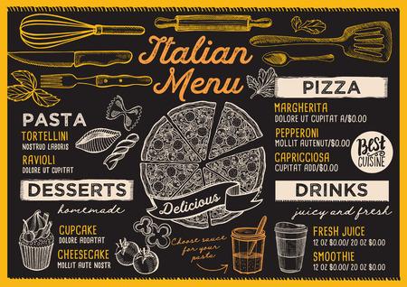 Pizza restaurant menu. Vector food flyer for bar and cafe. Design template with vintage hand-drawn illustrations. Stok Fotoğraf - 94758639