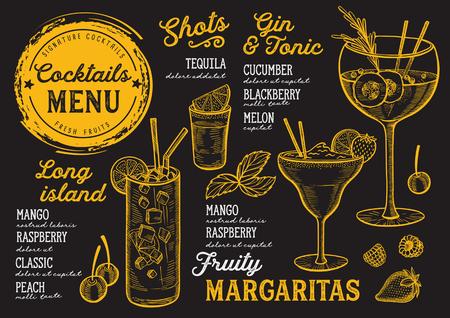 Menu del cocktail bar. Volantino di bevande vettore per ristorante e caffetteria. Modello struttura con illustrazioni disegnate a mano d'epoca.