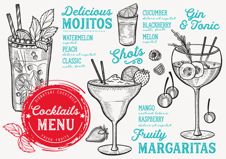 Cocktail bar menu. Vector drinks flyer for restaurant and cafe. Design template with vintage hand-drawn illustrations. Ilustração