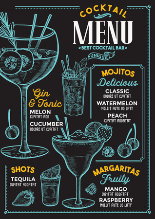 Koktajlowe menu barowe. Wektor ulotka napojów dla restauracji i kawiarni. Szablon projektu z rocznika ręcznie rysowane ilustracje.