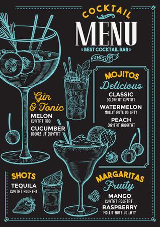 Menu du bar à cocktails. Dépliant de boissons de vecteur pour restaurant et café. Modèle de conception avec des illustrations vintage dessinées à la main.