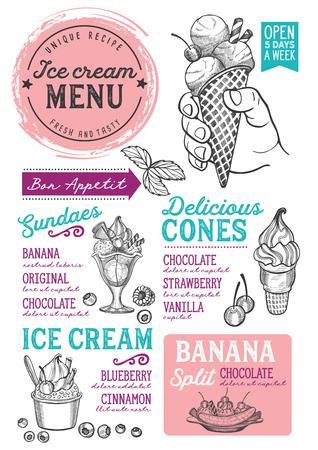 Menu de restaurant de crème glacée. Dépliant de nourriture dessert Vector pour bar et café. Modèle de conception avec des illustrations vintage dessinées à la main. Vecteurs