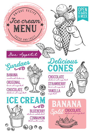 Ice cream restaurant menu. Vector dessert food flyer for bar and cafe. Design template with vintage hand-drawn illustrations.
