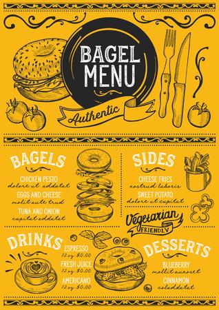 ベーグルレストランメニュー。バーとカフェのためのベクトルサンドイッチフードフライヤー。ヴィンテージ手描きのイラストを使用したデザイン
