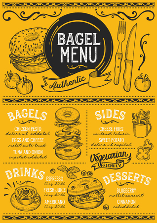 Bagels restaurant menu. Vector sandwich food flyer for bar and cafe. Design template with vintage hand-drawn illustrations. Ilustração