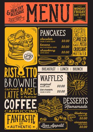 Waffles e crepes restaurante menu. Inseto do alimento da panqueca do vetor para a barra e o café. Modelo de design com ilustrações vintage desenhados à mão. Foto de archivo - 94758781