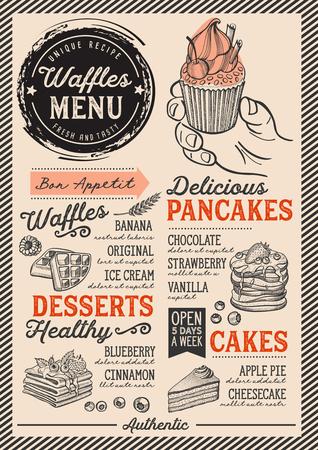 Waffles e crepes restaurante menu. Inseto do alimento da panqueca do vetor para a barra e o café. Modelo de design com ilustrações vintage desenhados à mão. Foto de archivo - 94758778