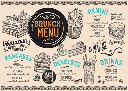 Brunch restaurant menu. Vector food flyer for bar and cafe. Design template with vintage hand-drawn illustrations. 向量圖像