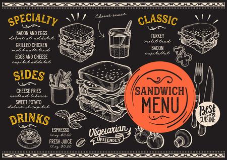 Menu de restaurant de sandwich. Dépliant de nourriture de vecteur pour bar et café. Modèle de conception avec des illustrations vintage dessinées à la main. Banque d'images - 94758789