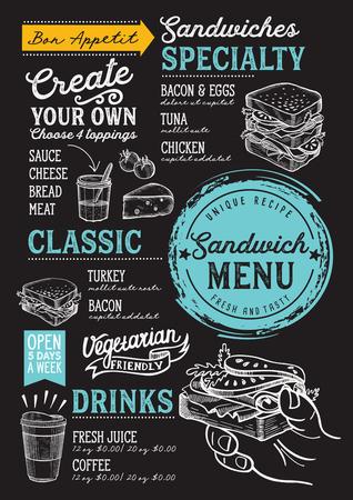 Menu de restaurant de sandwich. Dépliant de nourriture de vecteur pour bar et café. Modèle de conception avec des illustrations vintage dessinées à la main. Banque d'images - 94758851