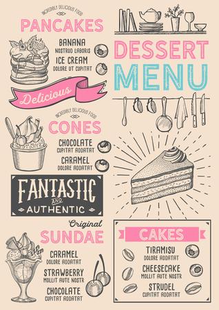 Dessert restaurant menu. Vector food flyer for bar and cafe. Design template with vintage hand-drawn illustrations. Çizim