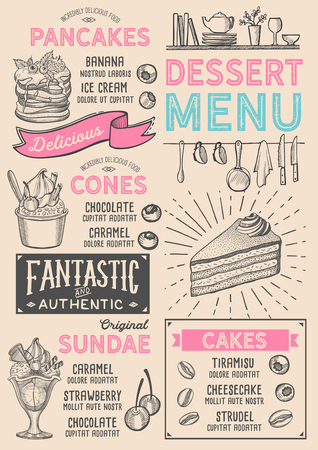 Dessert restaurant menu. Vector food flyer for bar and cafe. Design template with vintage hand-drawn illustrations. Stock Illustratie