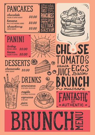 ブランチレストランメニュー。バーとカフェのためのベクトルフードフライヤー。ヴィンテージ手描きのイラストを使用したデザインテンプレート
