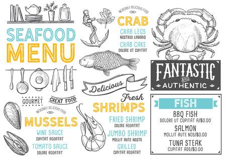 Menu del ristorante di pesce. Volantino di cibo vettoriale per bar e caffetteria. Modello struttura con illustrazioni disegnate a mano d'epoca. Archivio Fotografico - 94758856
