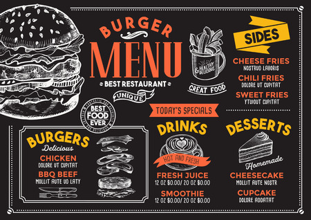 Menu del ristorante Burger. Volantino di cibo vettoriale per bar e caffetteria. Modello struttura con illustrazioni disegnate a mano d'epoca. Archivio Fotografico - 94758855