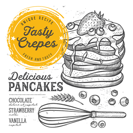 Crepes restaurant menu. Vector pancake food flyer for bar and cafe. Design template with vintage hand-drawn illustrations.