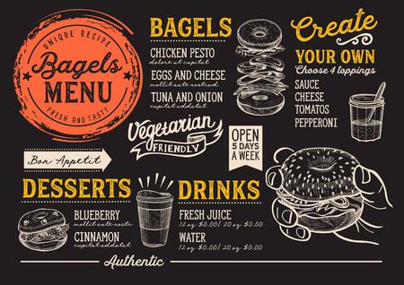 ベーグルレストランメニュー。バーやカフェのためのベクターサンドイッチフードチラシ。手描きのイラストを含むデザイン テンプレート。