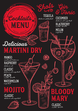 A Cocktail bar menu Vector drinks flyer for restaurant and cafe.