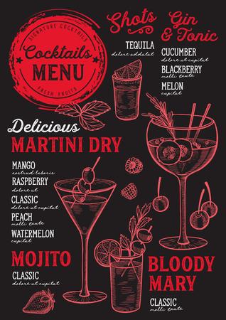 Un menú de bar de cócteles Vector bebidas flyer para restaurante y cafetería.