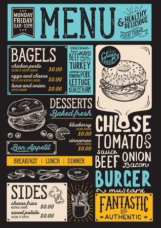 Bagels restaurant menu. Vector sandwich food flyer for bar and cafe. Design template with vintage hand-drawn illustrations. Illusztráció