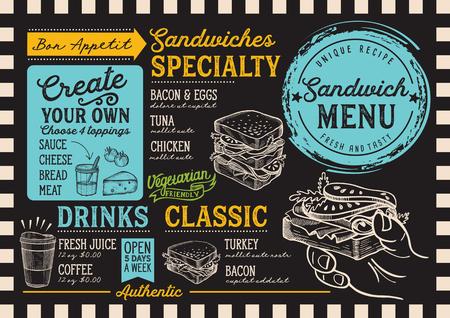 サンドイッチレストランメニュー。バーやカフェのベクターフードチラシ。ヴィンテージ手描きのイラストを使用したデザインテンプレート。