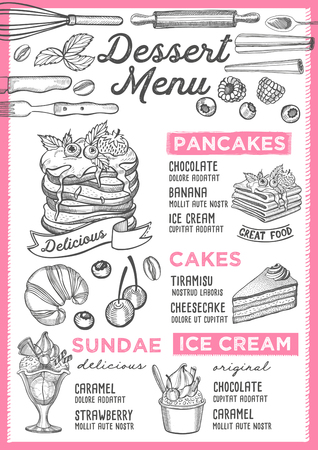 Dessert restaurant menu. Vector food flyer for bar and cafe. Design template with vintage hand-drawn illustrations. Ilustração