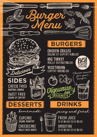 Burger restaurant menu. Vector food flyer for bar and cafe. Design template with vintage hand-drawn illustrations. 일러스트