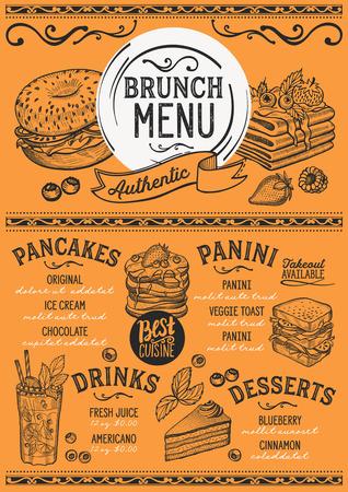 ブランチレストランメニュー。バーやカフェのベクターフードチラシ。ヴィンテージ手描きのイラストを使用したデザインテンプレート。