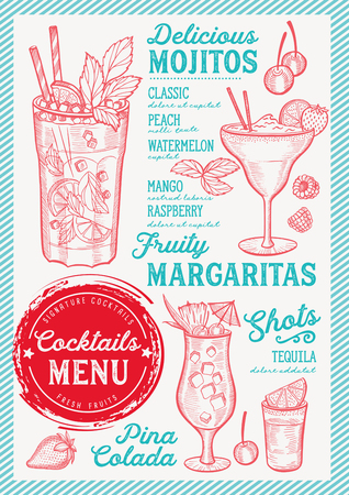 Cocktail bar menu flyer for restaurant and cafe, design template with vintage hand-drawn illustrations.