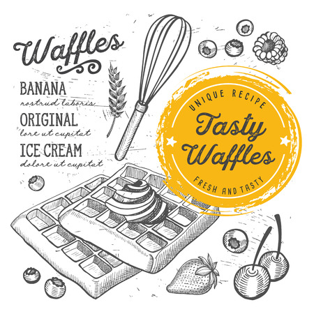 Waffles restaurant menu. Vector dessert food flyer for bar and cafe. Design template with vintage hand-drawn illustrations.