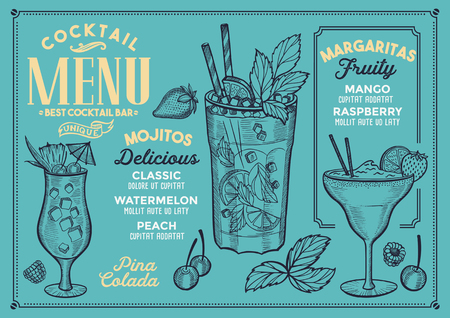 Cocktail bar menu. Vector drinks flyer for restaurant and cafe. Design template with vintage hand-drawn illustrations. 스톡 콘텐츠 - 96492734