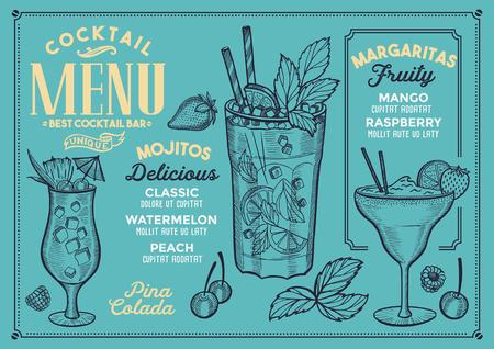 Menu del cocktail bar. Volantino di bevande vettore per ristorante e caffetteria. Modello struttura con illustrazioni disegnate a mano d'epoca. Archivio Fotografico - 96492734