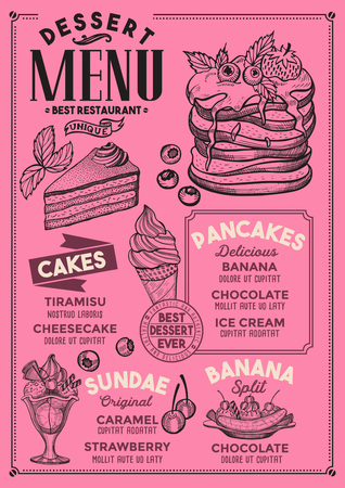 Dessert restaurant menu food flyer for bar and cafe with vintage hand-drawn illustrations.