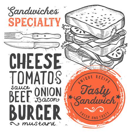 Sandwich restaurant menu. Vector food flyer for bar and cafe. Design template with vintage hand-drawn illustrations. Reklamní fotografie - 96492735