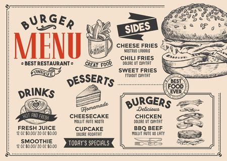 Burger restaurant menu. Vector food flyer for bar and cafe. Design template with vintage hand-drawn illustrations. 矢量图像