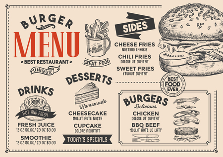 Burger restaurant menu. Vector food flyer for bar and cafe. Design template with vintage hand-drawn illustrations. Illustration