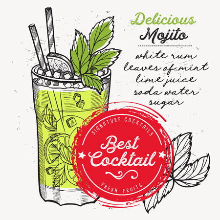 Cocktail mojito for bar menu. Vector drink flyer for restaurant and cafe. Design poster with vintage hand-drawn illustrations.