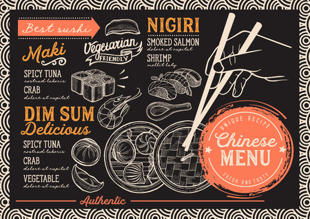 A sushi restaurant menu Vector Chinese dim sum food flyer.