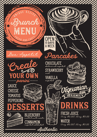 Brunch restaurant menu. Vector food flyer for bar and cafe. Design template with vintage hand-drawn illustrations. Vettoriali