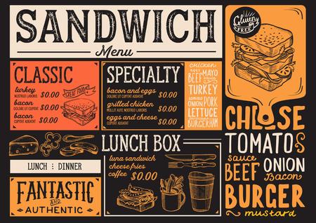 Restaurant restaurant dessin flyer vecteur de nourriture pour bar et le modèle de conception. conception avec des formules dessinés à la main vintage Banque d'images - 96599143