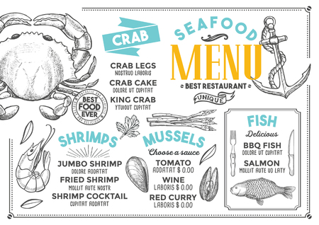 Seafood restaurant menu. Vector food flyer for bar and cafe. Design template with vintage hand-drawn illustrations. 写真素材 - 96539020